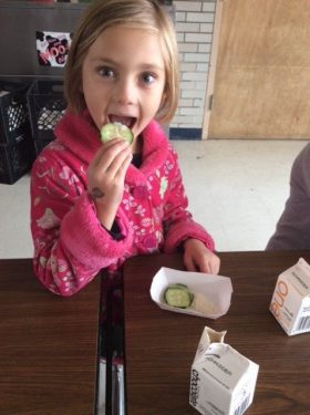 girl eating cucumber and hummus