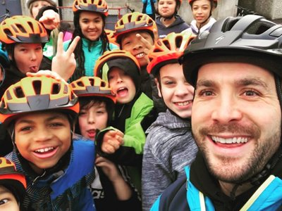 Kids and Teacher In Bike Helmets